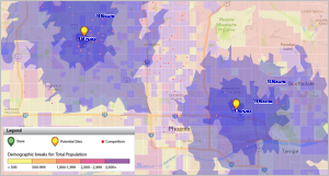 Evaluate potential sites using demographics, traffic counts and more.