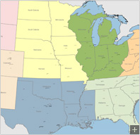 US map by Regions